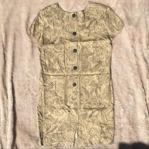 Elegant Button Up Khaki Floral Midi Dress Size L